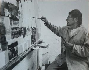 Clément Baeyens devant sa toile