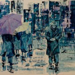Sous la pluie - Huile sur bois - Clément Baeyens